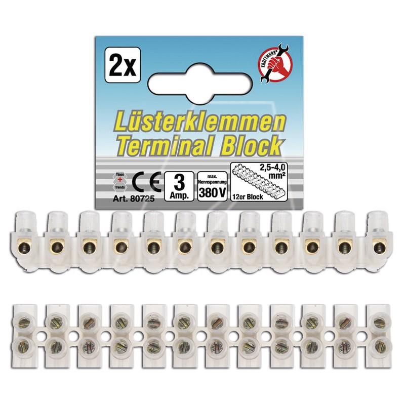 Lüsterklemmen 2,5 mm², 2 Riegel à 12 Stück, 6011-X1-0560