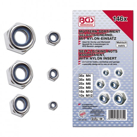 BGS Sicherungsmuttern-Sortiment metrisch, 146-tlg.
